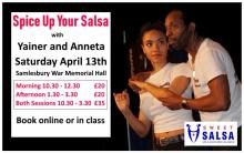 Yainer and Anneta teaching Cuban style salsa