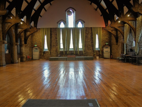 The wooden dance floor in St Walburge's Community Hall